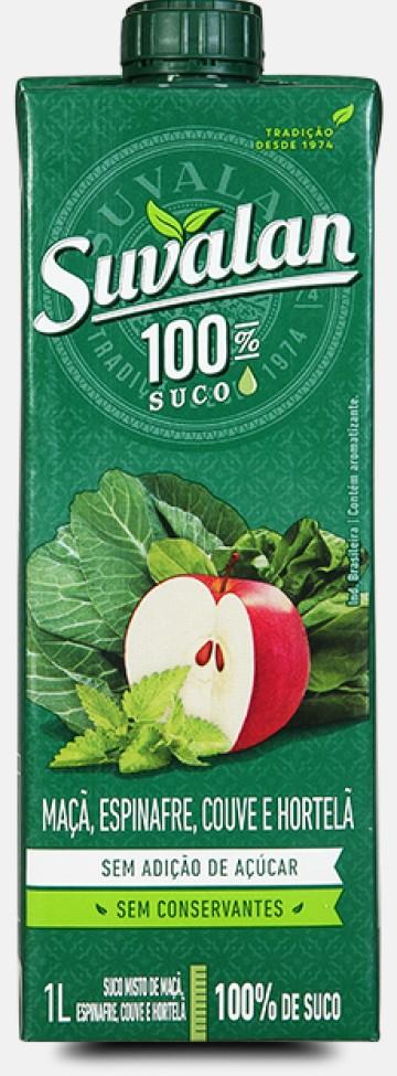 100% Suco-Maçã, Espinafre, Couve e Hortelã